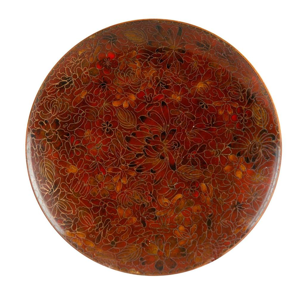 CHINESE CLOISONNE PLATE WITH FLORAL PATTERNS, RUSSET AND TURQUOISE
