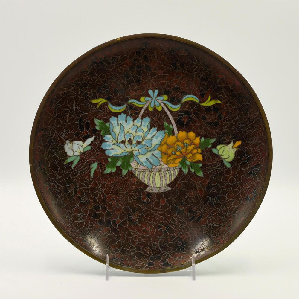 CHINESE CLOISONNE PLATE, TURQUOISE AND RUSSET