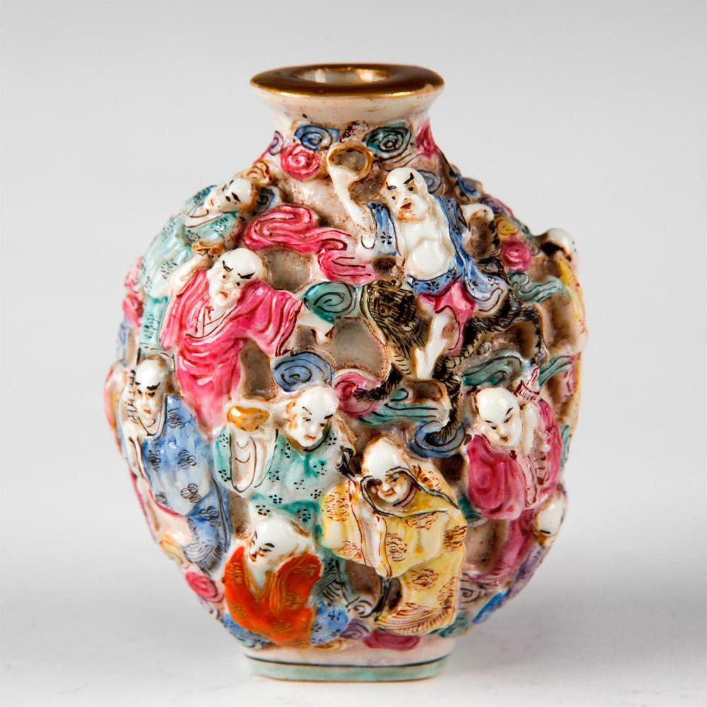 CHINESE FAMILLE ROSE IMMORTAL ARHATS SNUFF BOTTLE