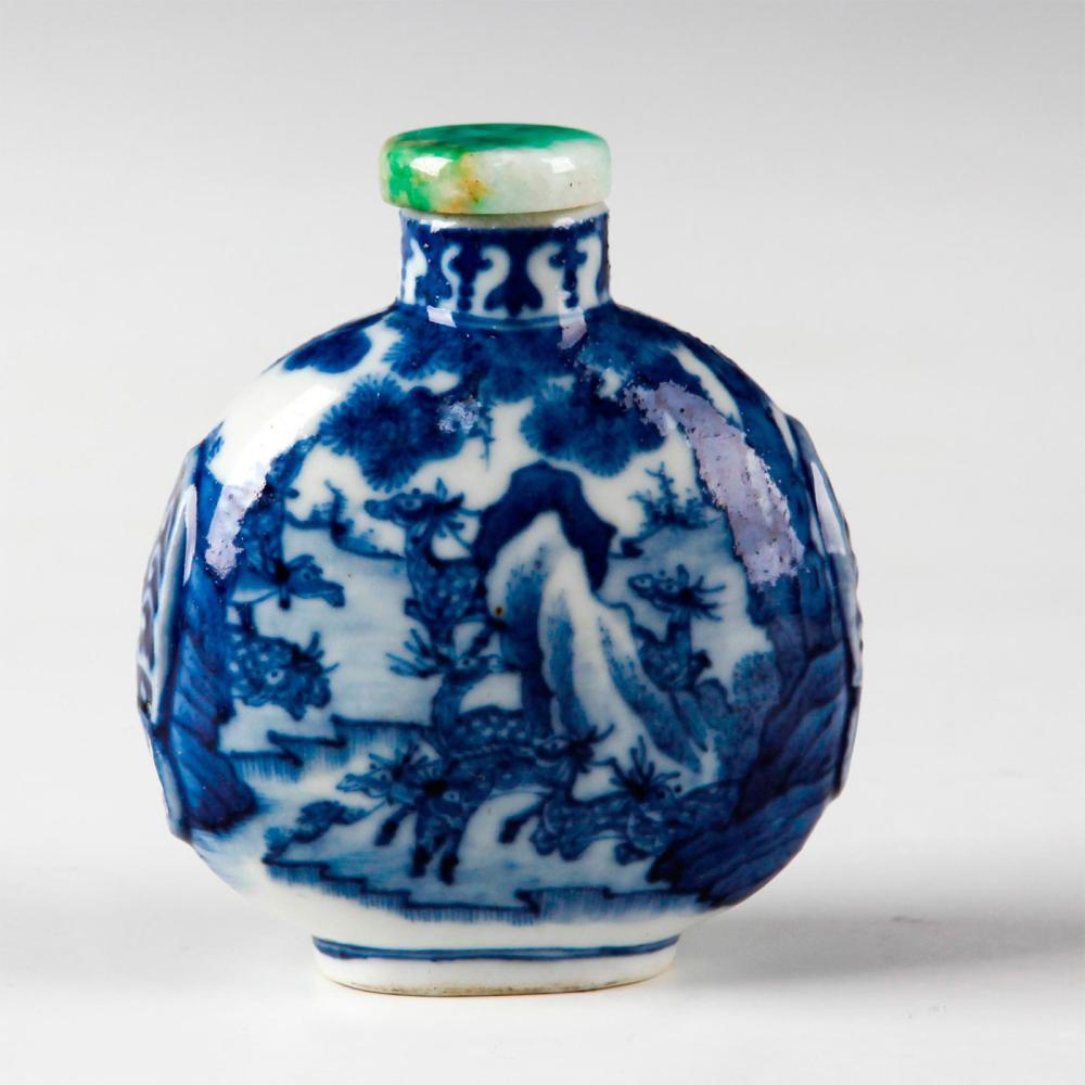 CHINESE QING DYNASTY BLUE & WHITE MOON FLASK