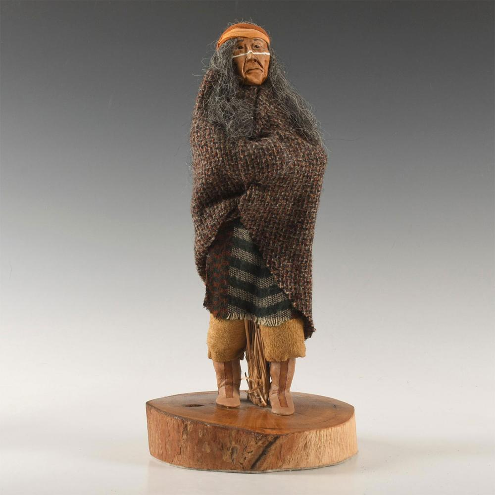 NATIVE AMERICAN CLAY PORTRAIT DOLL, ARTIST SIGNED