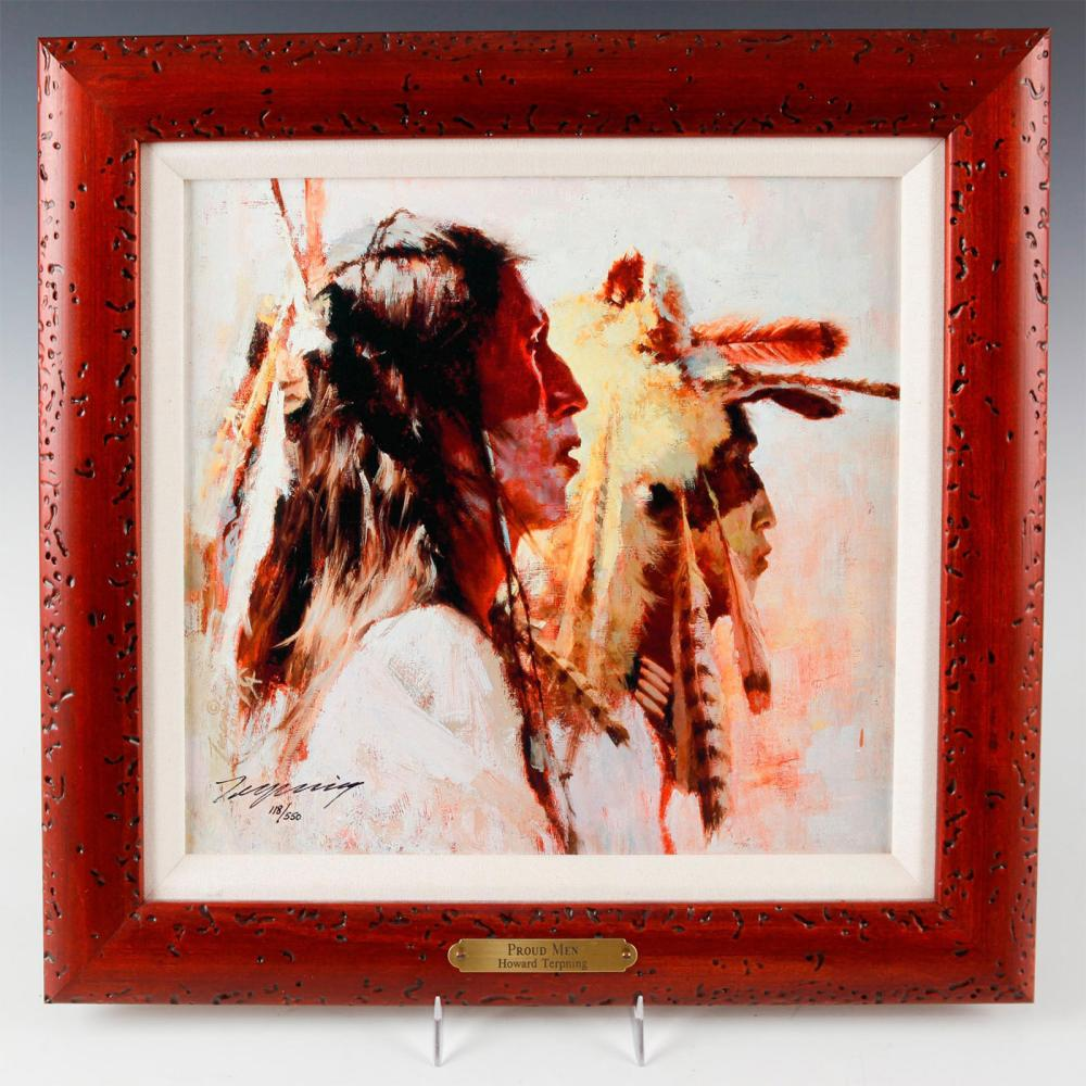 NATIVE AMERICAN FRAMED GICLEE ON CANVAS, PROUD MEN