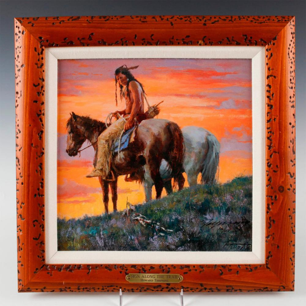 NATIVE AMERICAN FRAMED GICLEE ON CANVAS, SIGN ALONG THE TRAIL