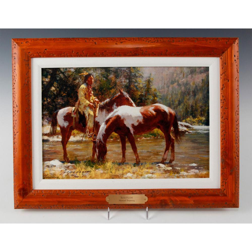NATIVE AMERICAN FRAMED GICLEE ON CANVAS, SOLITUDE