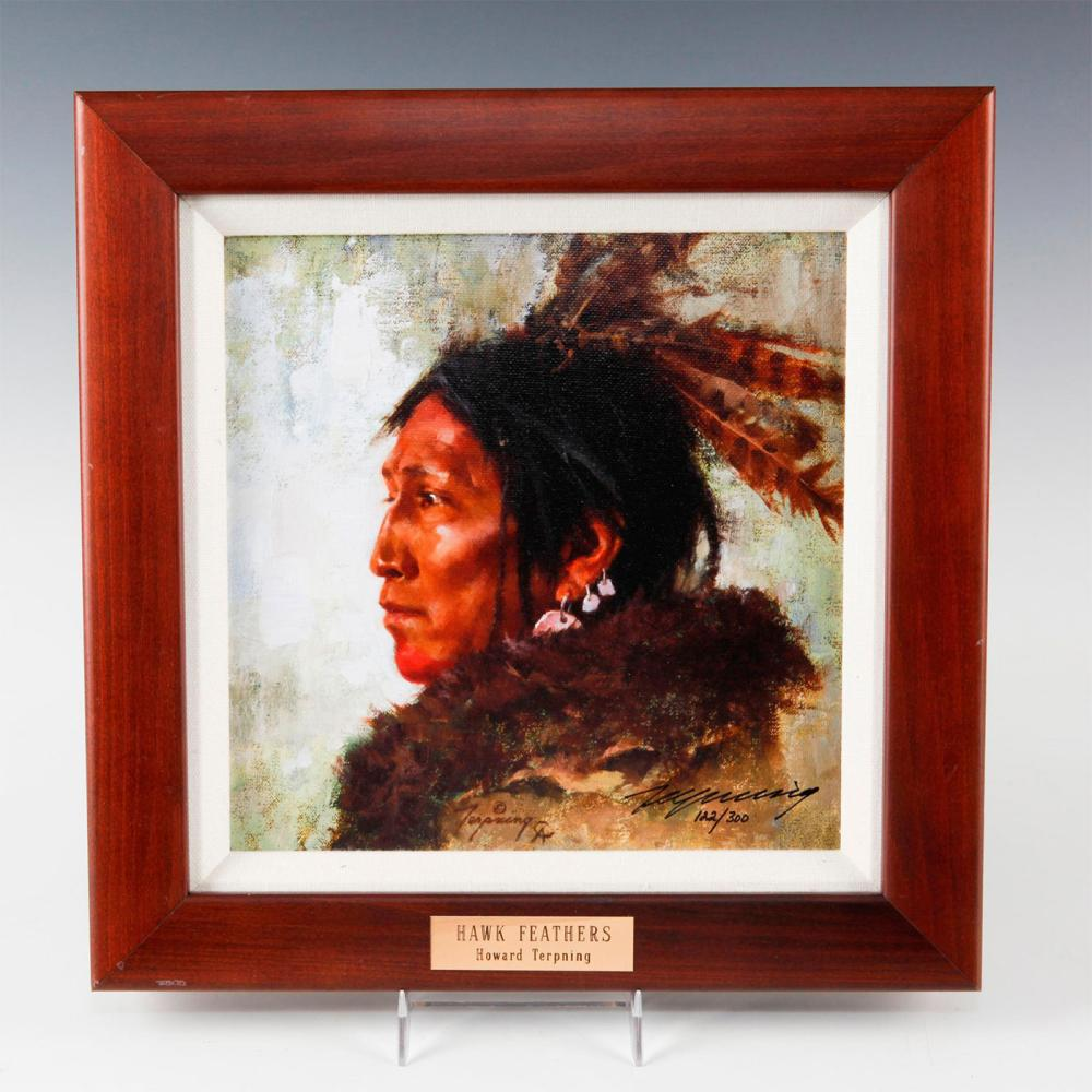 NATIVE AMERICAN FRAMED GICLEE ON CANVAS, HAWK FEATHERS