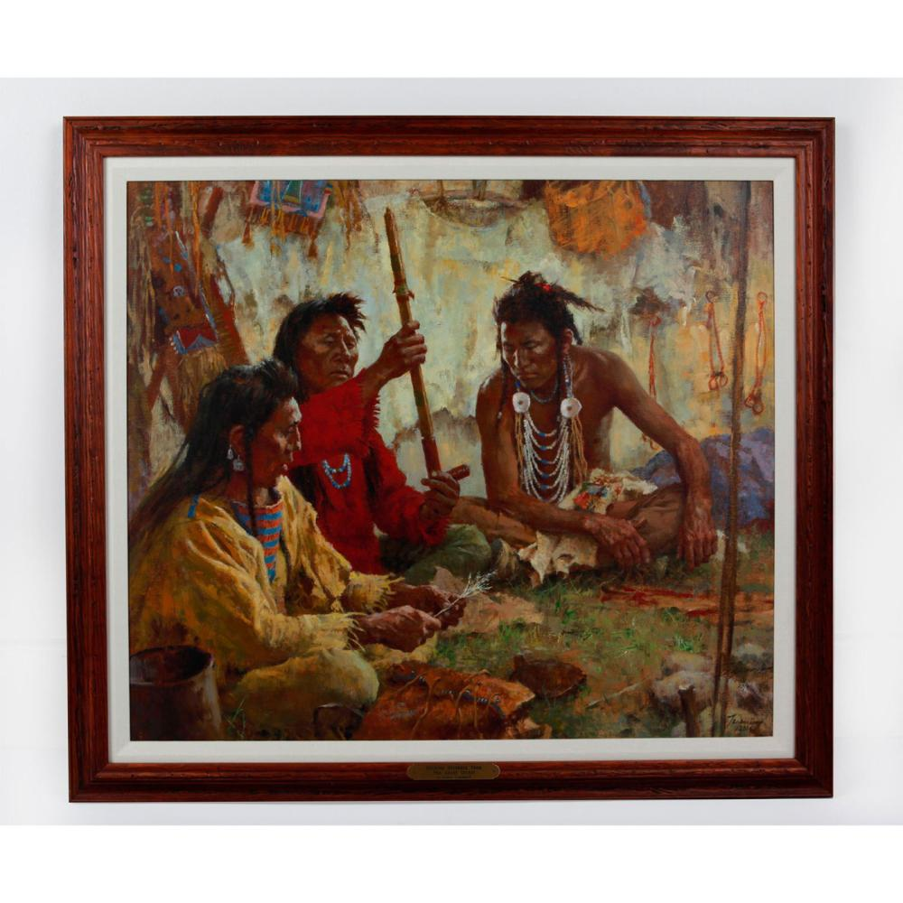 NATIVE AMERICAN TRIBAL GICLEE ON CANVAS, SIGNED