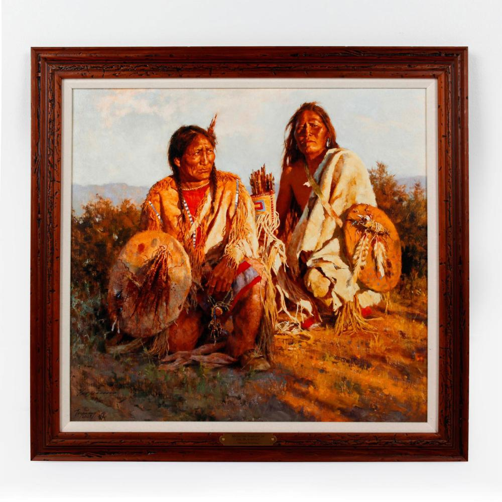 NATIVE AMERICAN TRIBAL GICLEE ON CANVAS SIGNED NUMBERED
