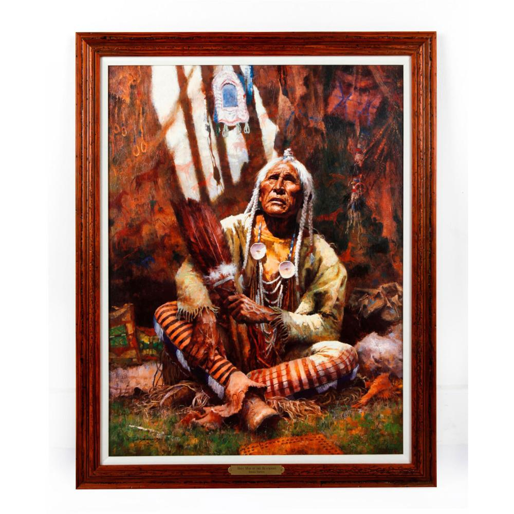 NATIVE AMERICAN FRAMED GICLEE ON CANVAS, HOLY MAN OF THE BLACKFOOT