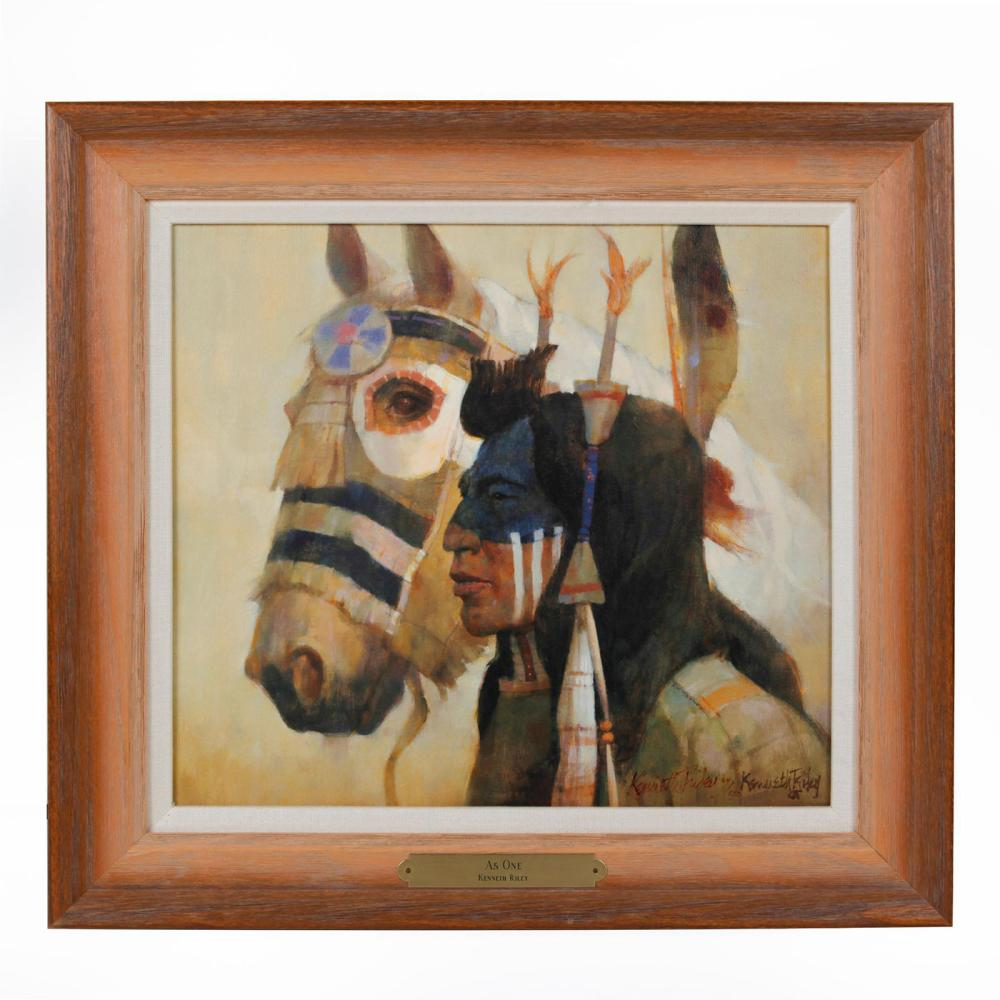 NATIVE AMERICAN AS ONE BY KENNETH RILEY (1919 - 2015)