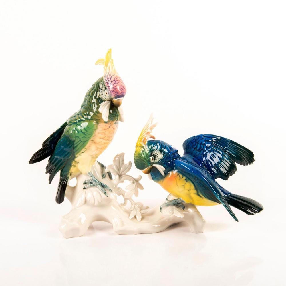 ENS Karl Volkstedt German Porcelain Figurine, Parrots