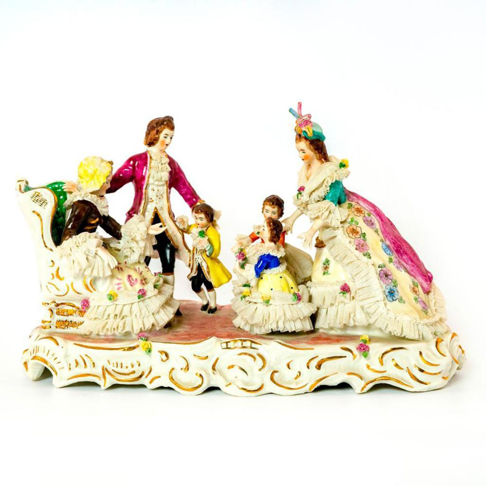 Vintage German Style Figurine Grouping, Family Gathering