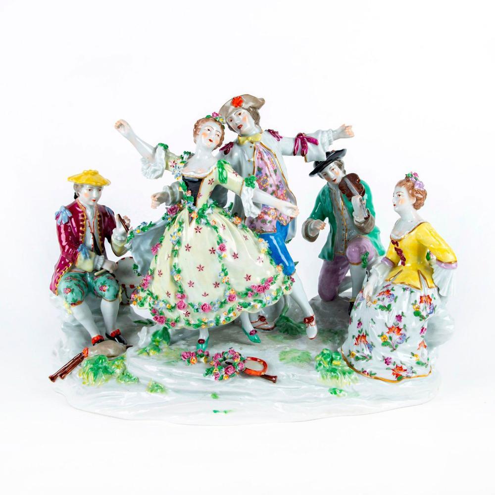 Large Vintage German Style Porcelain Figurine Grouping