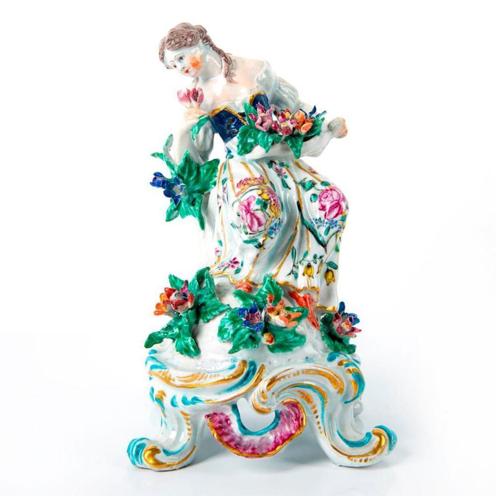 Vintage Ceramic Figurine, Woman With Flowers