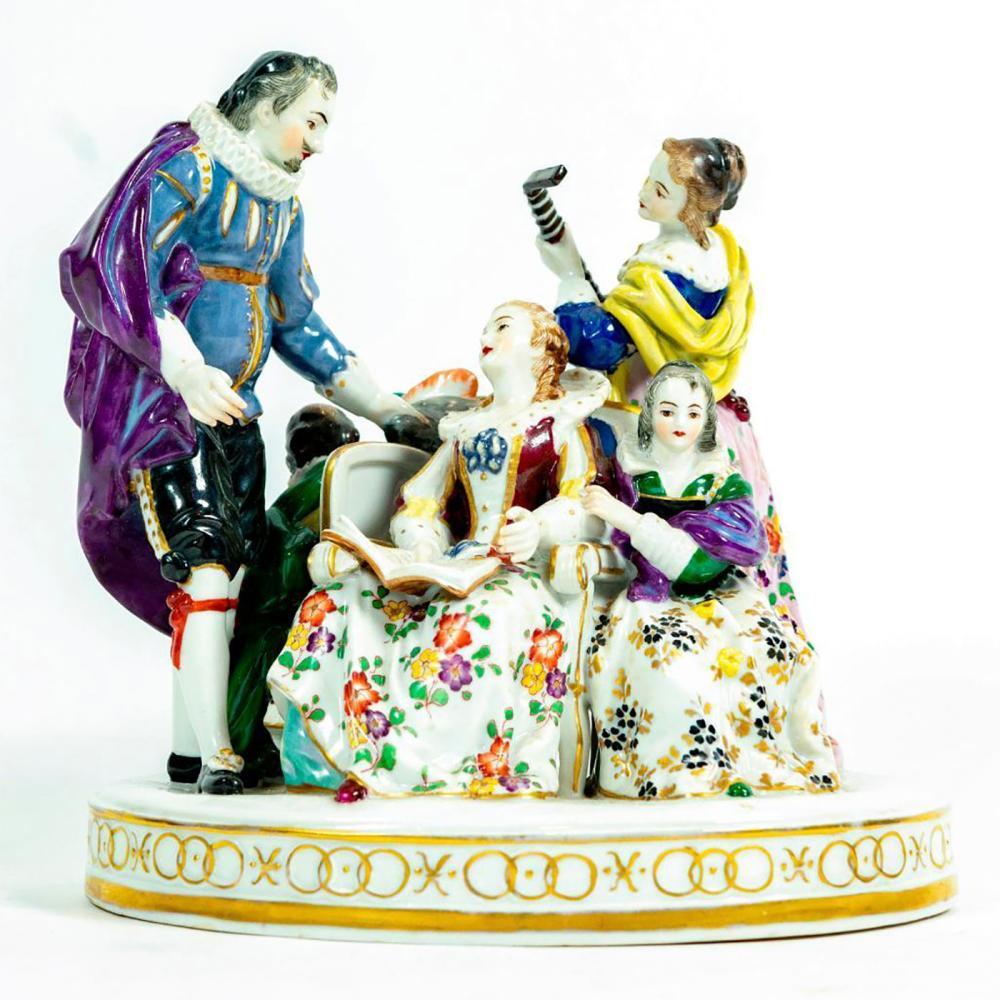 Vintage European Porcelain Figurine Grouping, Family Time