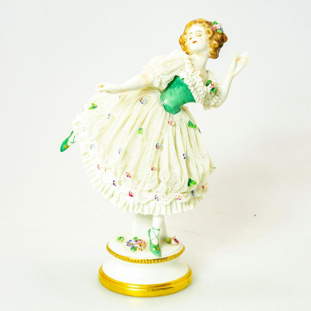Vintage Porcelain Lace Figurine, Lady Dancer