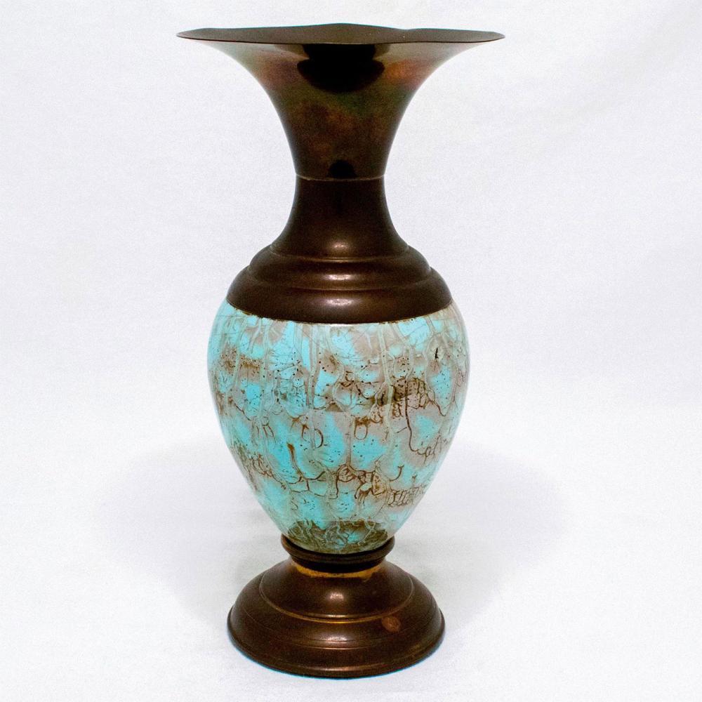 Unusual Delft Vase Mid-Century Modern Lustre Glaze