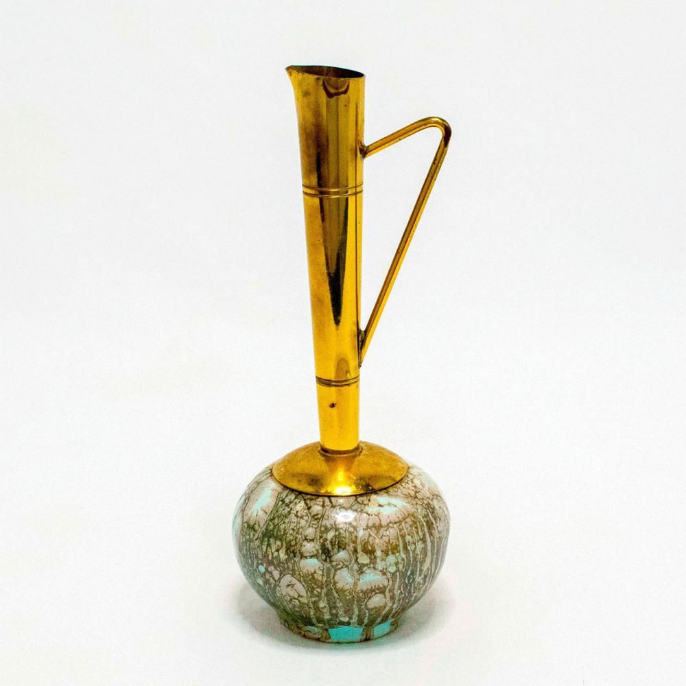 Unusual Delft Jug Brass Spout Mid-Century Modern