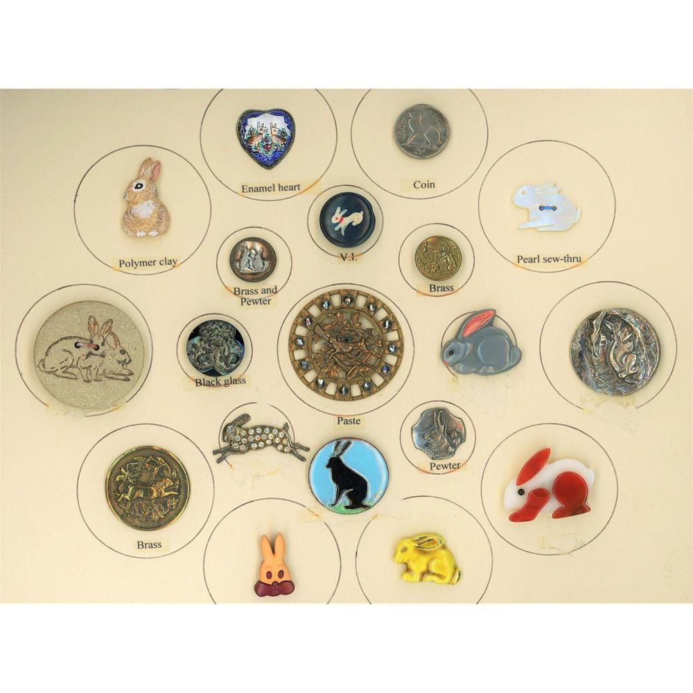 A PARTIAL CARD OF DIV 1 & 3 ASSORTED RABBIT BUTTONS