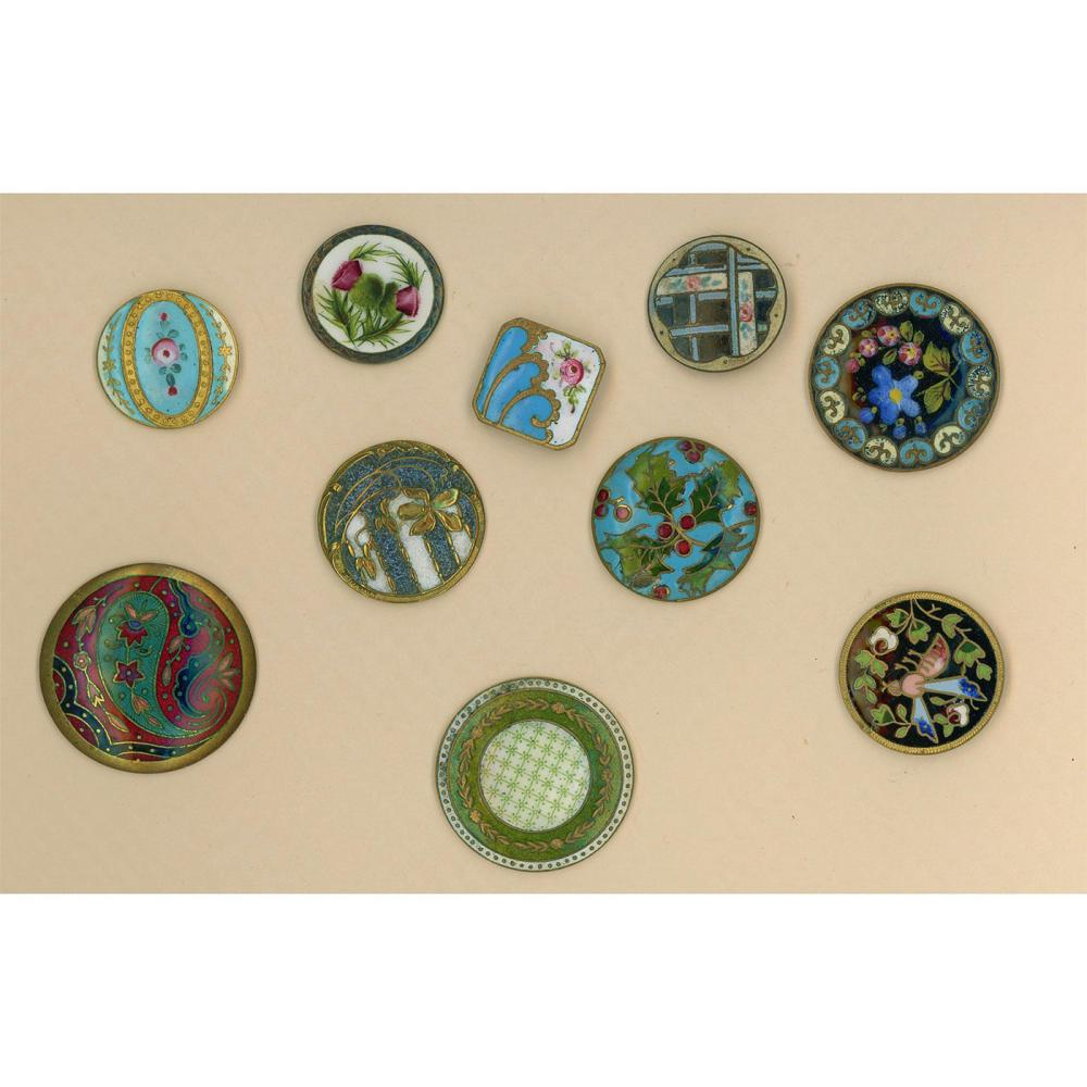 A PARTIAL CARD OF ASSORTED ENAMEL BUTTONS INCL CALICO