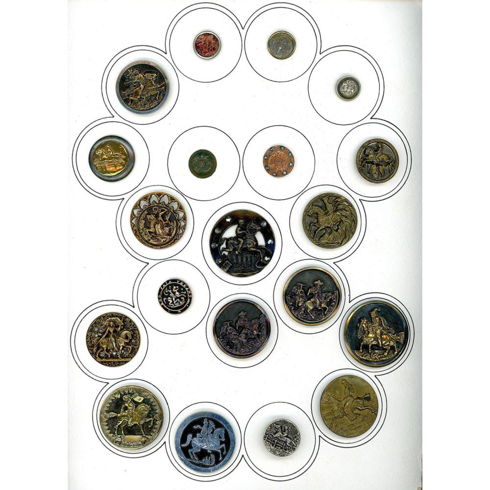 A FULL CARD OF DIV 1 & 3 HORSE BUTTONS