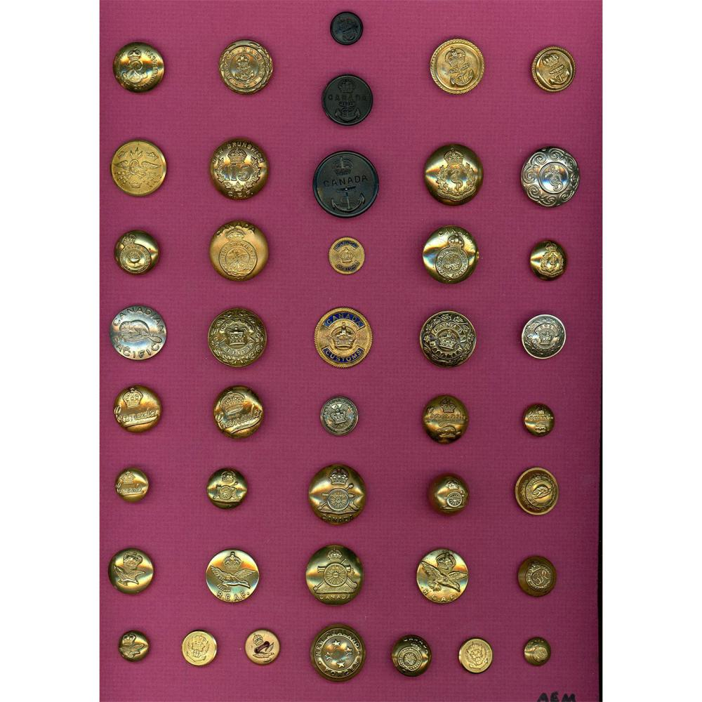 2 CARDS OF ASSORTED UNIFORM BUTTONS