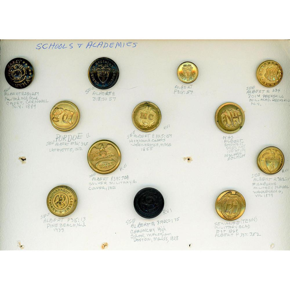 5 PARTIAL CARDS OF ASSORTED UNIFORM BUTTONS