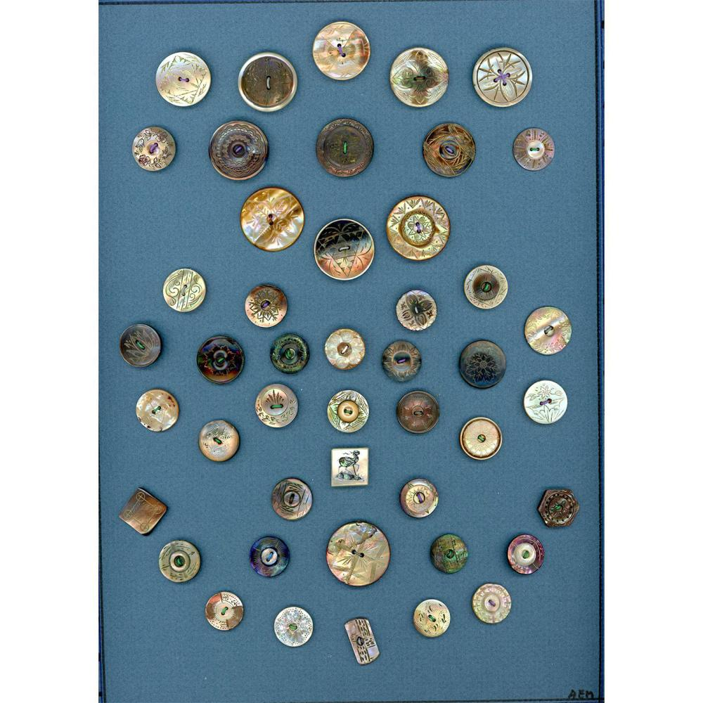A CARD OF DIVISION ONE PEARL BUTTONS INCLUDING INLAY