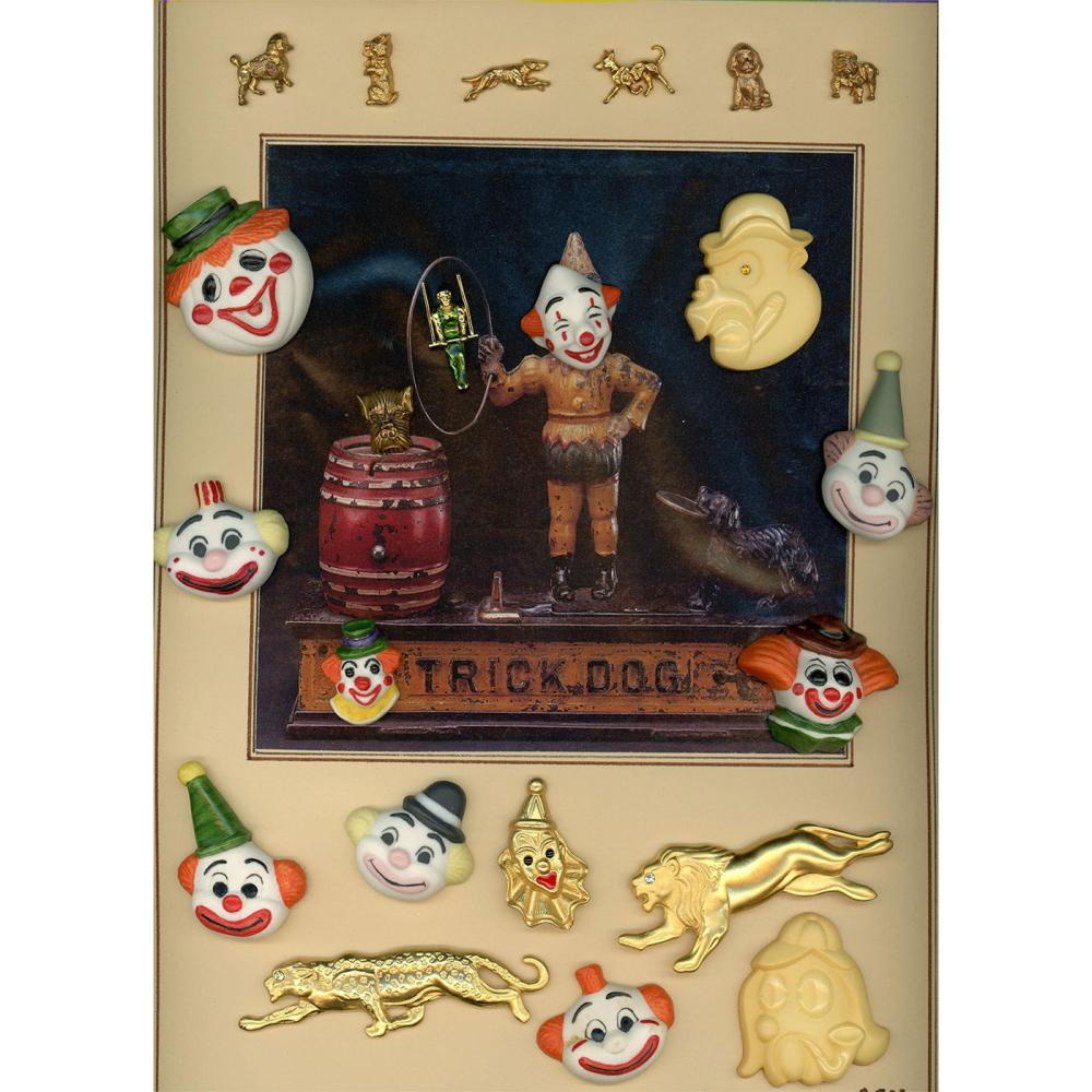 A CARD OF DIVISION 3 CERAMIC AND METAL CIRCUS BUTTONS