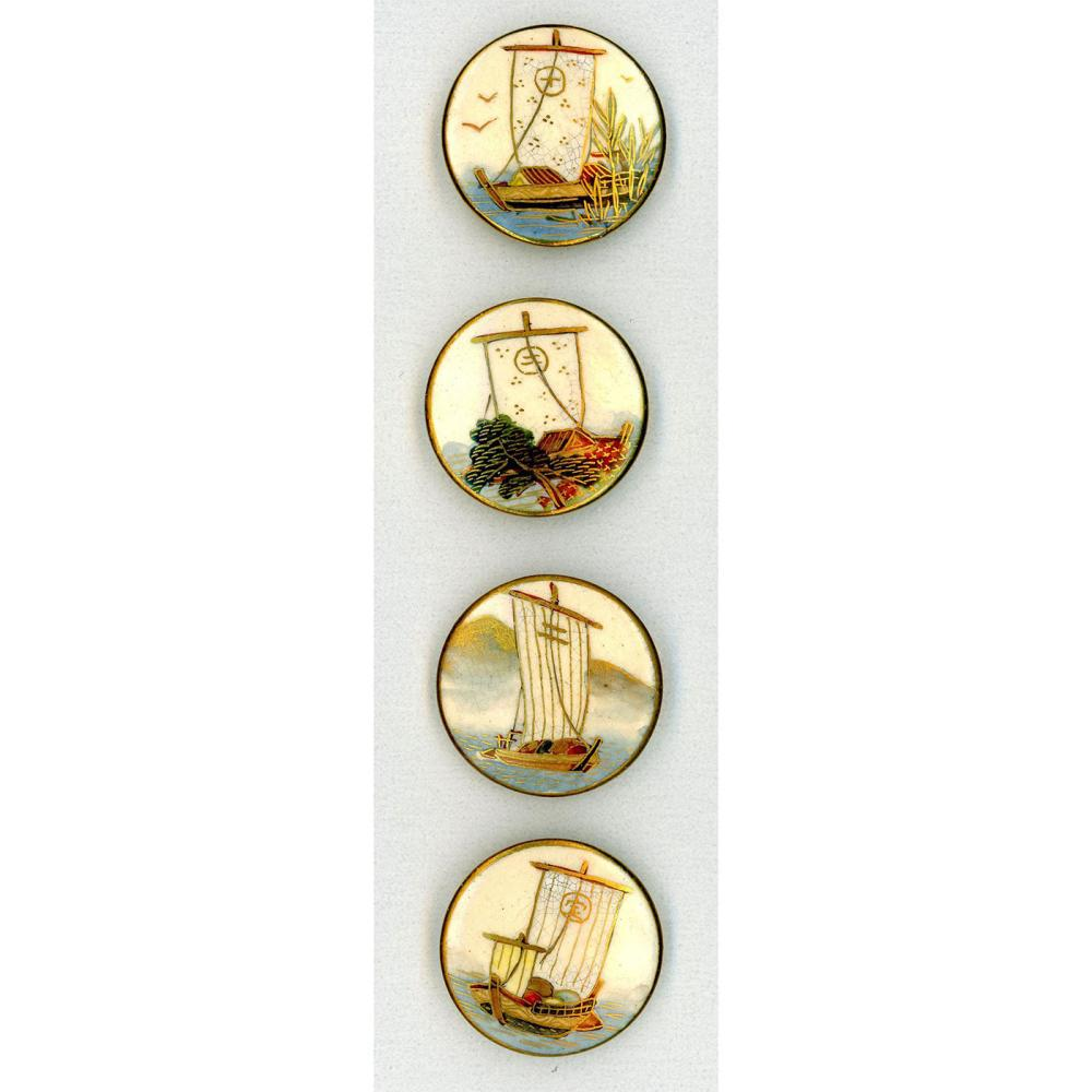 A SMALL CARD OF DIVISION THREE JAPANESE SATSUMA BUTTONS