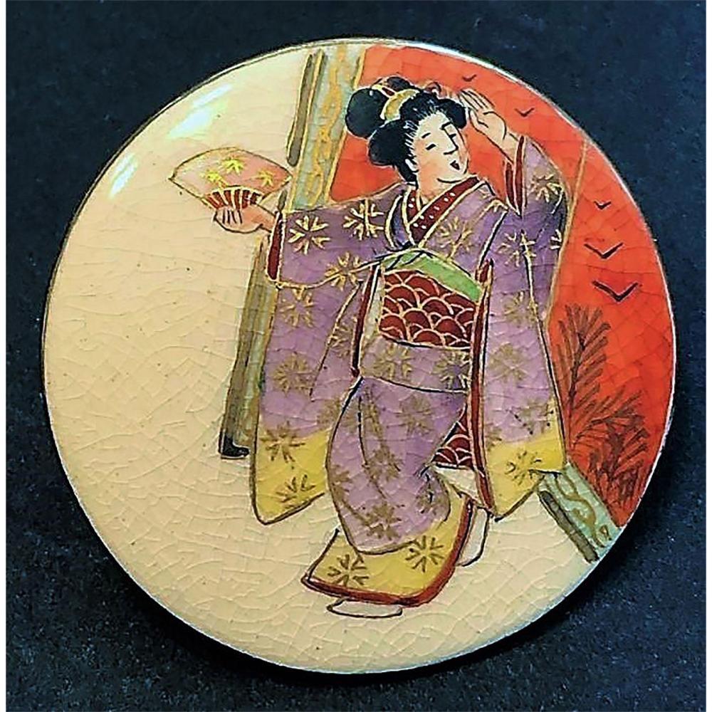 A DIVISION THREE JAPANESE SATSUMA FIGURAL BUTTON