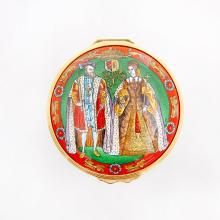 HALCYON DAYS ENAMEL BOX QUEEN MARY I AND KING PHILIP