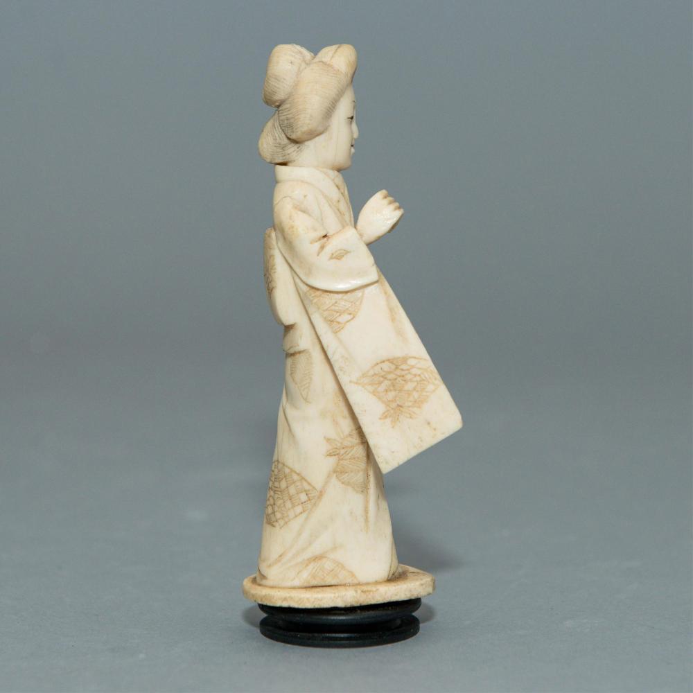 Carved Bone Geisha Figurine