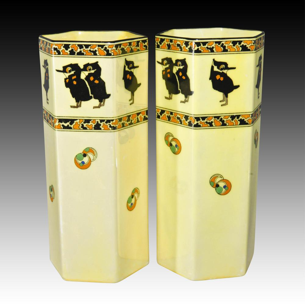 Royal Doulton Pair Luster Vases With Comical Birds