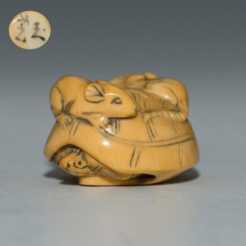 Antique Japanese Carved Bone Netsuke Rats On Turtle