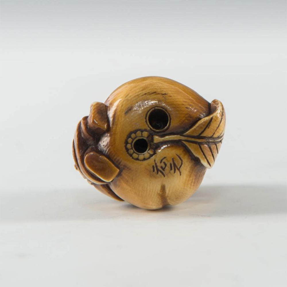 Antique Japanese Carved Bone Netsuke Men With Peach