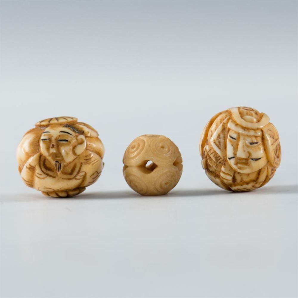Group Of 3 Antique Carved Bone Beads