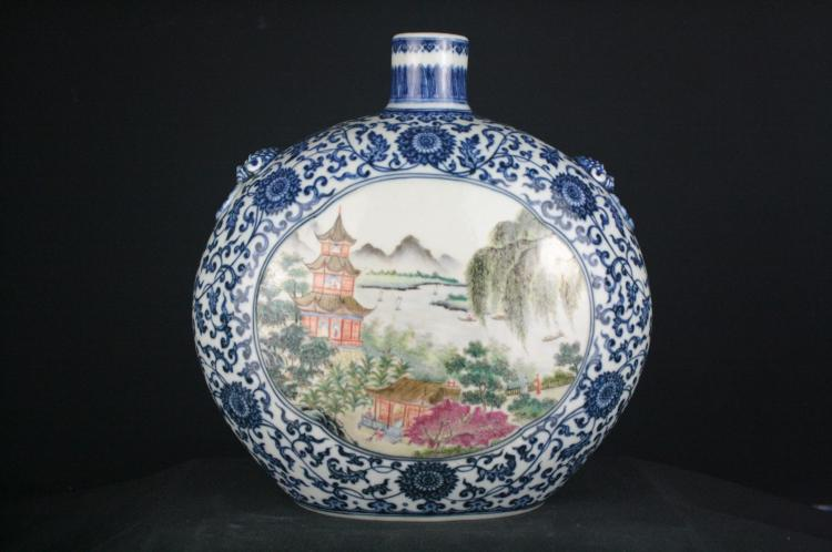 Chinese Famille Rose Porcelaim Moonflask Vase