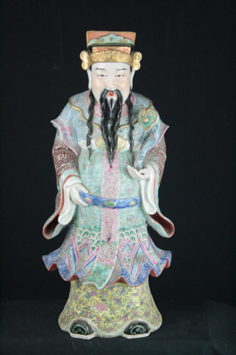 Chinese Famille Rose Porcelain Cai Chen Statue