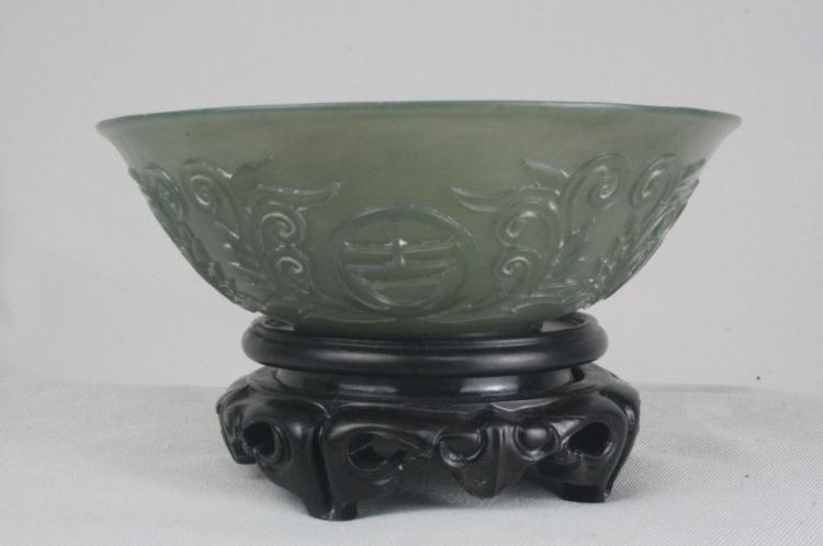 Chinese Green Jade Bowl