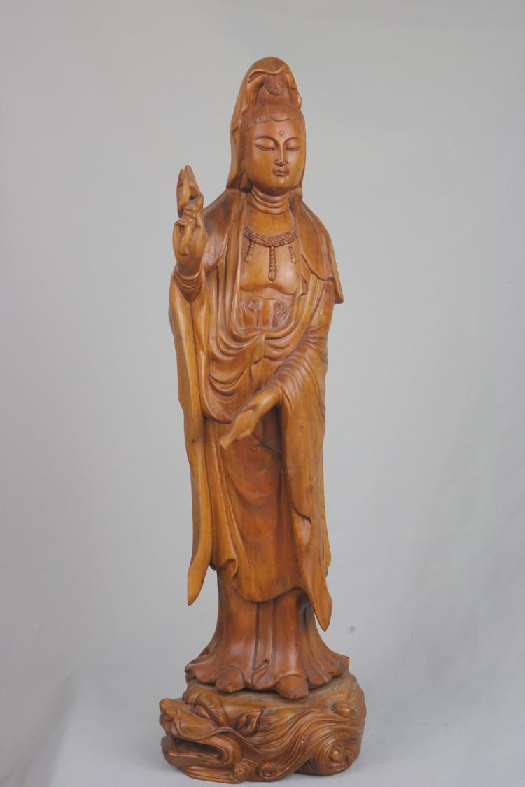 Chinese carved boxwood guan yin