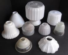 9 vintage glass lamp shades