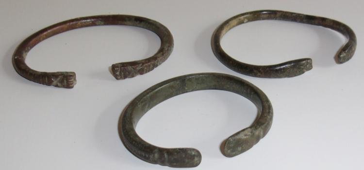 3 C. 300 B.C. PERSIAN BRONZE & BRASS BRACELETS