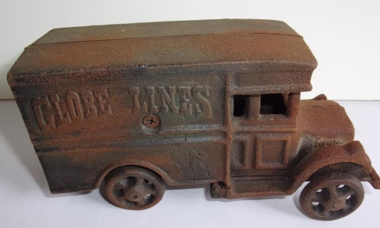 Globe lines cast iron milk truck