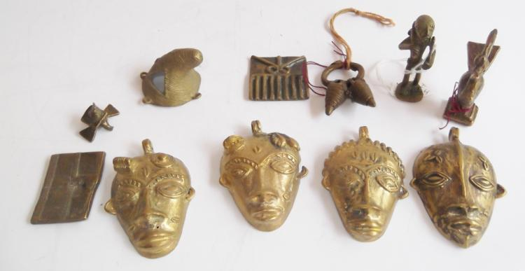 11 pieces assorted Antique brass lot