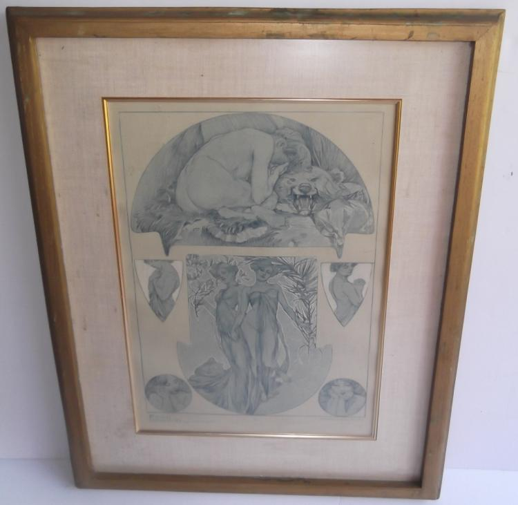Art Deco Figures Decorative print by Mucha