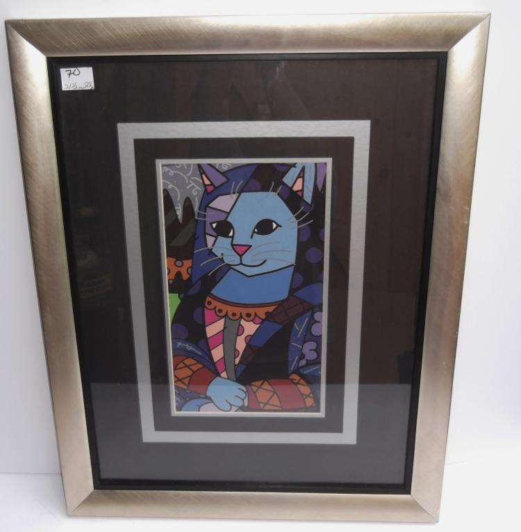 Abstract cat print framed