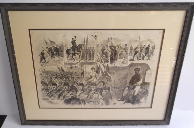 Framed Harper's weekly engraving