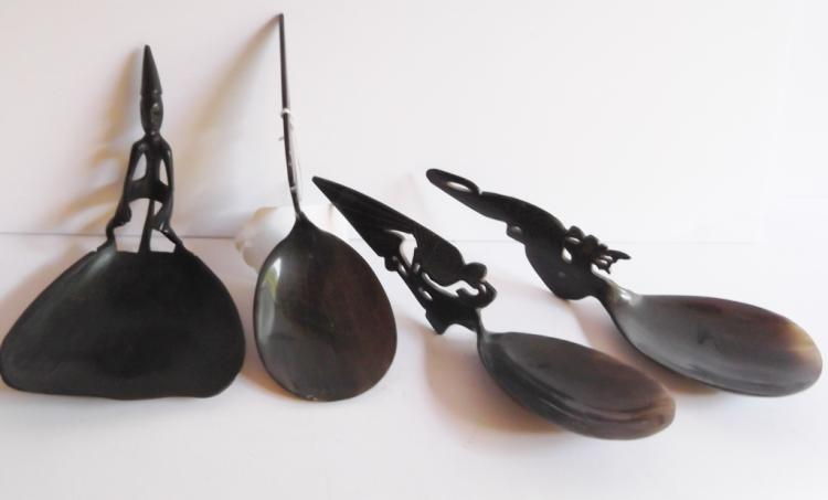 4 horn carved spoons