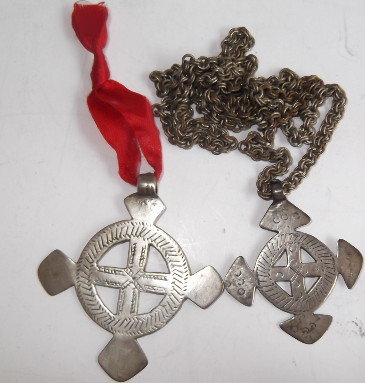 2 Berber silver crosses