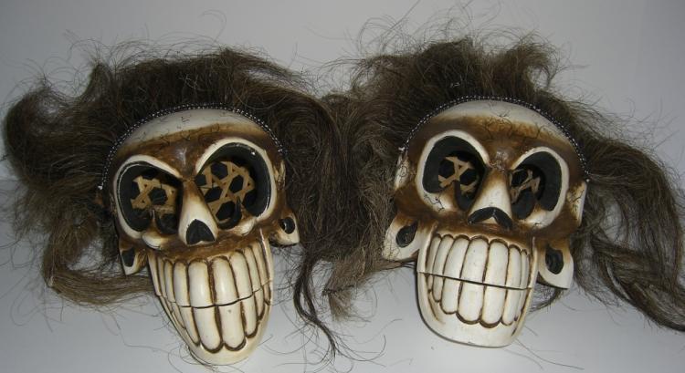 2 skeleton Halloween face masks